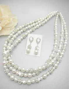 Triple Strand Rhinestone Necklace with Swarovski Pearls // Wedding Day Pearls // Fireball // Wedding Day Jewelry Pearl Bridal Necklace on Etsy, $98.00