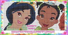 Jasmine and Tiana - Disney Princess pattern by Dinha Ponto Cruz