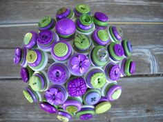 Purple and Green Button Wedding Bouquet Bride Bridesmaid Centerpiece | Flickr - Photo Sharing!