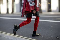 Leaf Greener of Elle China on a street style photo taken during London Fashion Week.
