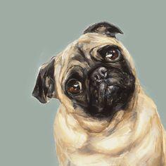 Tan Pug Dog print - signed Ltd. Ed Collectable - Pug art print - pug gift - Dogs. Dog Artist, Pugs And Kisses, Pug Art, Pug Pictures, Pug Puppies, Mundo Animal, Pug Love, Dog Portraits, Portrait Art