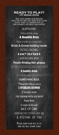 I SPY Wedding Reception Game