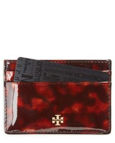 tory burch tortoiseshell slim leather card case
