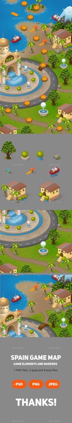 Cartoon Spain Game Map