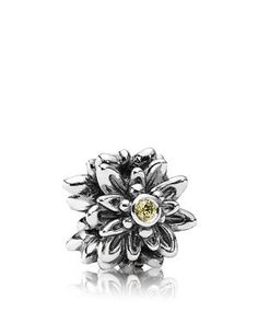 Pandora Charm - Sterling Silver & Cubic Zirconia Edelweiss, Moments Collection