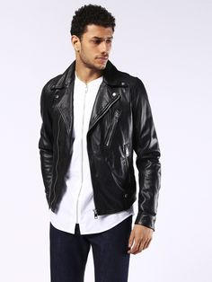 Diesel L BECK Leather Jacket. This biker jacket will make an impact. It's made from butter-soft nappa leather.