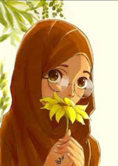 #anime #hijab #yellow #flowers