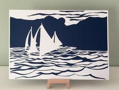 Paper art, Unframed, Sailing boats, Paper cut, Cut paper gift, Nautical home decor, Handmade gift, Sailing gift, Seascape, Anniversary gift by CarolineArgo on Etsy https://www.etsy.com/uk/listing/245624418/paper-art-unframed-sailing-boats-paper