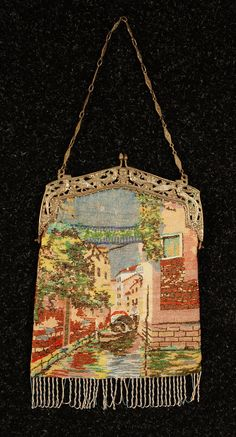 Venice scenic beaded bag with silver frame c. 1920