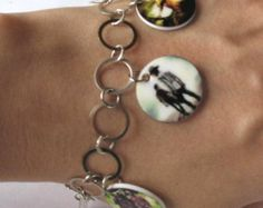 """Walking Dead Charm Bracelet Toggle Seven and a Half Inches 7.5"""" Long Metal Jewelry Zombie Rick Grimes Michonne Daryl Dixon Carl Grimes"""