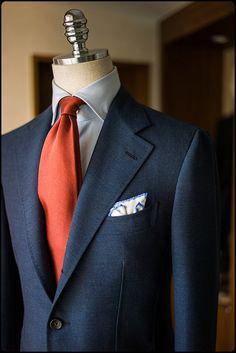 Fresco / Bleu - orange / Revers / Cravate