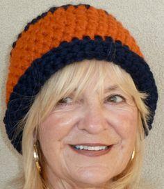 Blue Orange Auburn University Crochet Woman Hat by hatsbyanne1942, $40.00