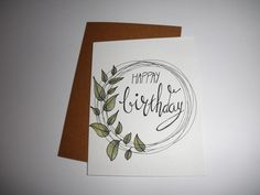 Happay!! Creative Birthday Cards, Handmade Birthday Cards, Happy Birthday Cards, Calligraphy Cards, Calligraphy Birthday Card, Birthday Card Drawing, Karten Diy, Birthday Letters, Bday Cards