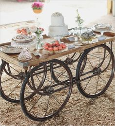 old farm equipment used as cake table