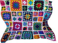 """Baby blanket crochet afghan crochet granny square afghan handmade blanket, 34""""x34"""" off-white border READY TO SHIP"""