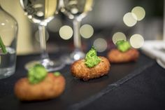 Wedding canapés ideas - smoked haddock croquettes with pea and mint purée