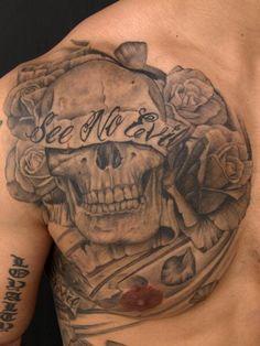 Excellent Tattoo Studio in St. Evil Tattoos, Tattoos Skull, Sleeve Tattoos, Money Tattoo, Skull Pictures, Tattoo Drawings, Tattoo Art, Art Drawings, Lion Tattoo