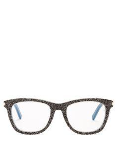 Saint Laurent Square-frame glitter glasses
