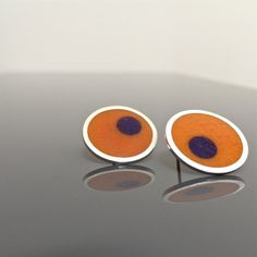 ORANGE resin earrings ODD BALLS sterling silver by MetalObjects