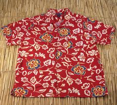 0ef3f7be9 Hawaiian Hibiscus Shirt Red White Blue Cotton Short Sleeves Structure Mens  XL #Structure #Hawaiian