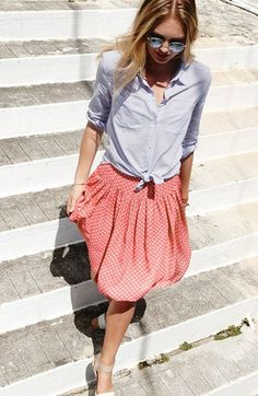 Ace Delivery Stripe Long Sleeve Woven Shirt $78 + coral dot skirt | Nordstrom