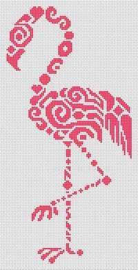 White Willow Stitching Tribal Flamingo - Cross Stitch Pattern. Artwork by Jamie Larson. Model stitched on 14 Ct. white Aida with DMC floss. Stitch Count: 80W x
