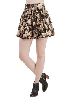 Prettiest in the Bloom Skirt - Short, Woven, Floral, Pleats, Party, Black, 90s, High Waist, Full, Spring, Summer, Fall, Good, Black