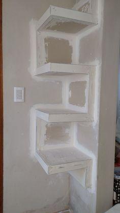 📣 35 Amazing Corner Shelves Ideas 016 - Home - Wooden Accent Wall, Corner Shelves, Diy Wall Art, Modern Decor, Shelving, Bookcase, Homemade, Building, Border Collie