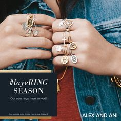 It's layeRING season! ALEX AND ANI NEW Rings! Available online 10/1 and in ALEX AND ANI stores 10/5. TREND RINGS. SPOON RINGS. FALL 2015. FASHION. STYLE.