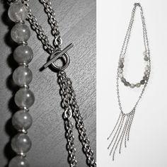 Multi Strand Necklace, Handmade Necklace, Cloud Quartz, Chains, Tassel, Long Necklace
