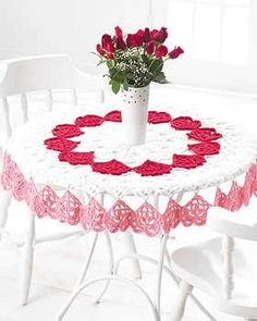 Crocheted Heart Tablecloth. Also perfect for a bridal shower or wedding. ~ free pattern