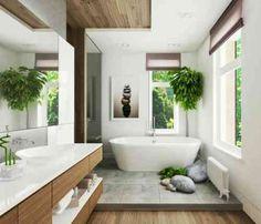 Salles de bain | Une salle de bain avec une déco tropicale | #salledebain, #décoration, #luxe. Plus de nouveautés sur magasinsdeco.fr/