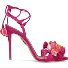 Aquazzura Tropicana tasseled beaded suede sandals ($765) via Polyvore featuring shoes, sandals, heels, high heel shoes, pom pom sandals, high heel stilettos, suede sandals and embellished sandals