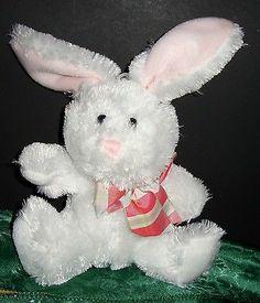 "Hallmark Cards White Bunny With Bow 10"" Stuffed Animal Plushie"