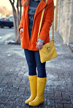 Yesterday started out a little on the crazy side. After having glorious, warm weather on Sunday, Mother Nature decided to flip her switch . Hunter Boots Outfit, Wellies Rain Boots, Wellington Boot, Joules, Warm Weather, Vogue, Leather Jacket, Coffee, Yellow