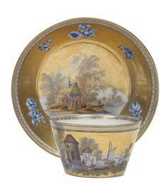 Porcelain tea cup with saucer and gilt ground, KPM-Berlin, ca. 1800
