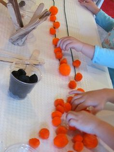 Sticky Table-Pumpkins on a vine counting activity