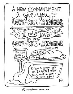 A New Commandment I Give You That Love One Another John Coloring Page Communion Last Supper