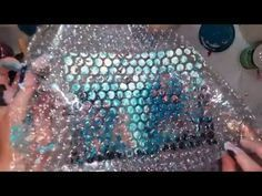 SWIPE with leftovers from an acrylic pour and playing with bubble wrap - YouTube