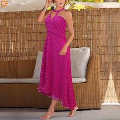 Feel like a grecian goddess in this pink flowy dress. #fashion #onlinestore Shop at http://www.droomfashion.com/shop/cheap_summer_dresses_on_sale_fuchsia_high_neck_gown/