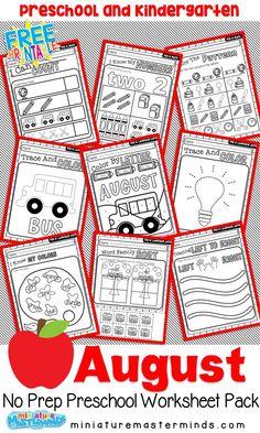 August No Prep Preschool and Kindergarten Pack April Preschool, Kindergarten Worksheets, Worksheets For Kids, Math Activities, Preschool Activities, Preschool Learning, Teaching, Writing Practice, Writing Skills