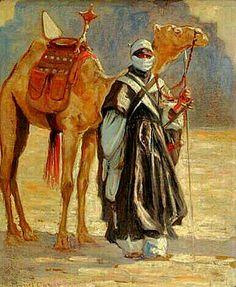 Algérie - Peintre Français, Marcel Canet (1875 - 1959),. Huile sur Panneau,Titre: Le méhariste