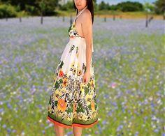 Summer dress/Women  dress floral print/Sun dress/strap by Danideng, $45.00