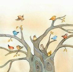Pretty Birds in a tree drawing Fb Wallpaper, Illustrator, Good Night Friends, Colors And Emotions, Birds And The Bees, China Painting, Pretty Birds, Little Monsters, Art Studies