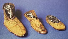 These leather Viking shoes found at York, was waterlogged, but has been preserved.  Leather Viking Shoes from York England Leather Viking Shoes Derby Museum and Art Gallery