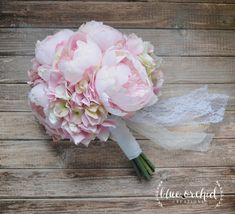 Blush Pink Peony and Hydrangea Wedding Bouquet, Peony Bouquet, Blush, Peonies by blueorchidcreations on Etsy https://www.etsy.com/listing/249531710/blush-pink-peony-and-hydrangea-wedding