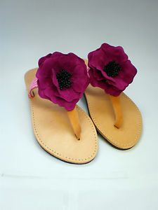 Hand made Genuine leather sandals UK size 6 with  red flower decor.