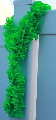 Lime Green Handmade Crocheted Sashay Scarf by AScarfAndMore
