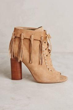 Peep-Toe Fringe Booties by Cynthia Vincent