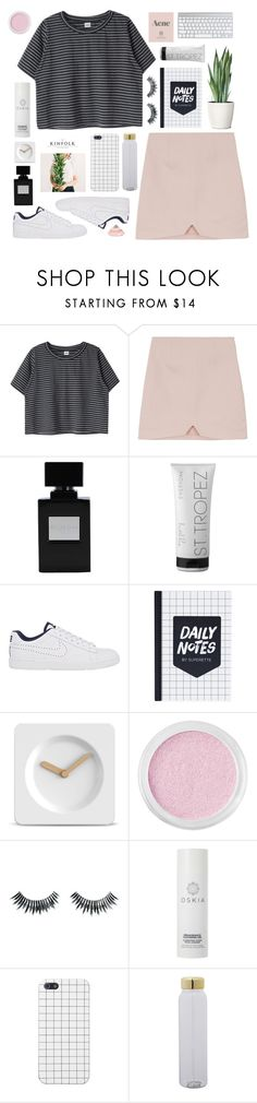 """d r o p"" by sleepy-seas ❤ liked on Polyvore featuring St. Tropez, NIKE, LEFF Amsterdam, Bare Escentuals, Napoleon Perdis, Prada, Oskia and Bloomingville"